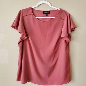 Lane Bryant Pink Ruffle Short Sleeve Blouse Sz 14